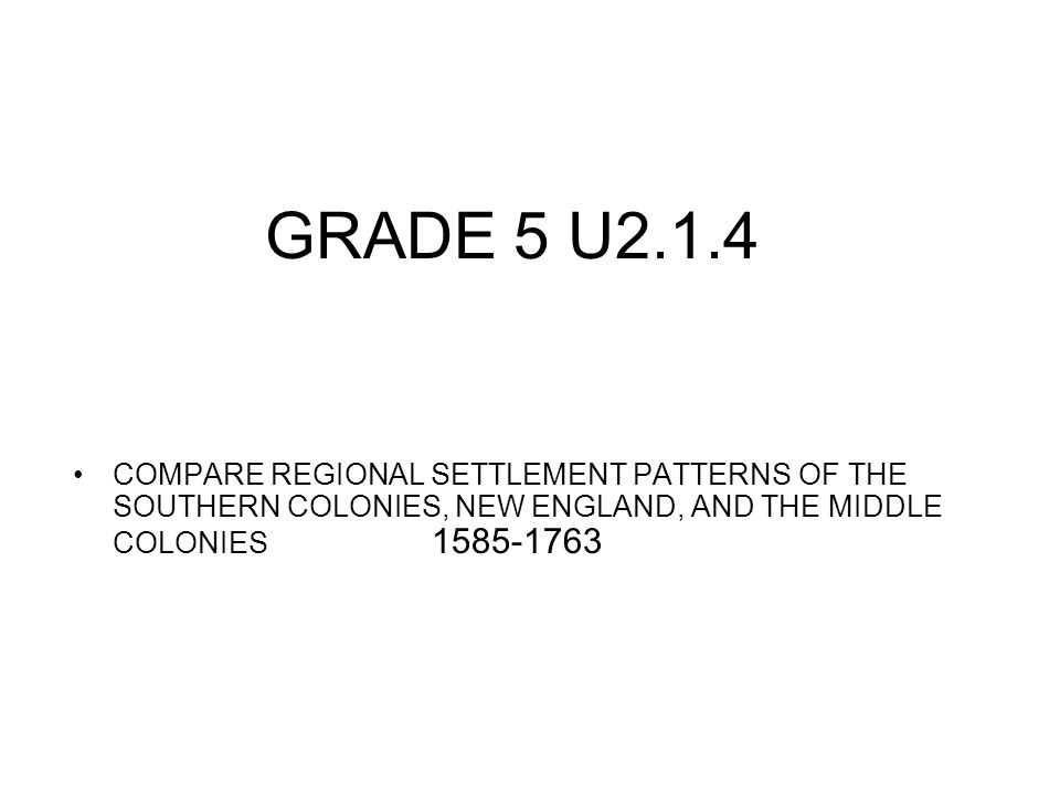 GRADE 5 U2.1.4 COMPARE REGIONAL SETTLEMENT PATTERNS OF THE SOUTHERN COLONIES, NEW ENGLAND, AND THE MIDDLE COLONIES 1585-1763