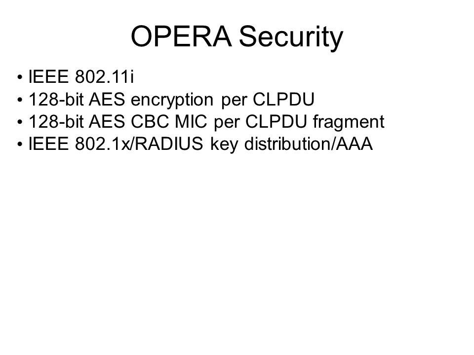 OPERA Security IEEE 802.11i 128-bit AES encryption per CLPDU 128-bit AES CBC MIC per CLPDU fragment IEEE 802.1x/RADIUS key distribution/AAA