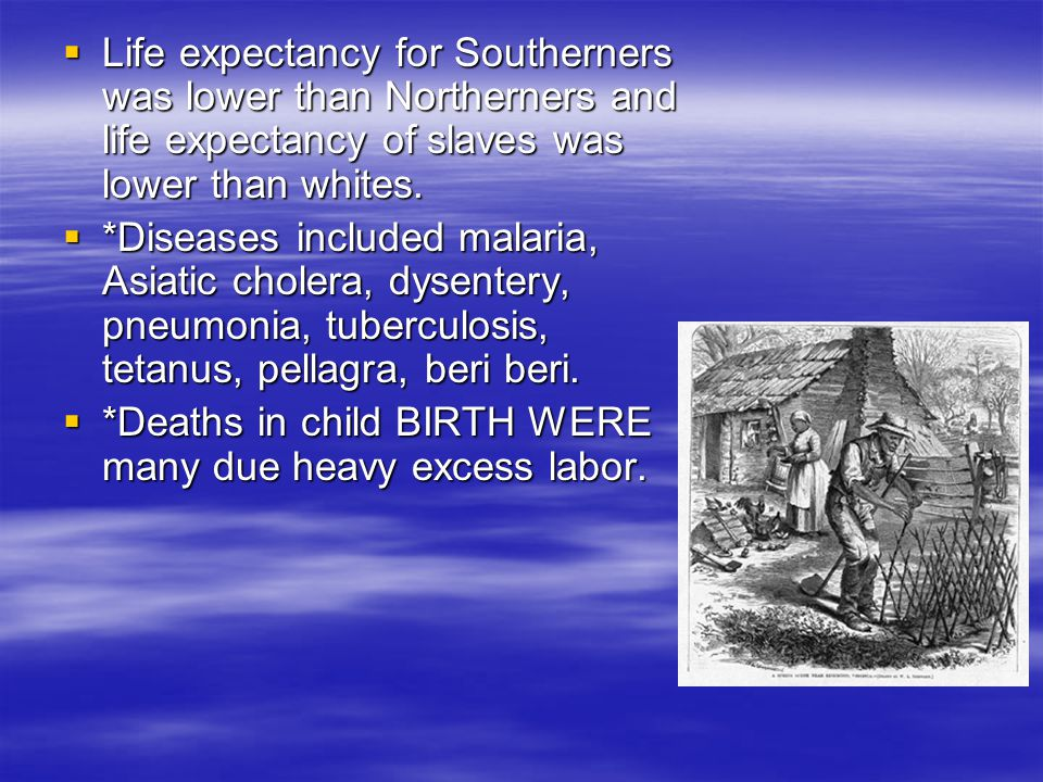  Life expectancy for Southerners was lower than Northerners and life expectancy of slaves was lower than whites.  *Diseases included malaria, Asiati