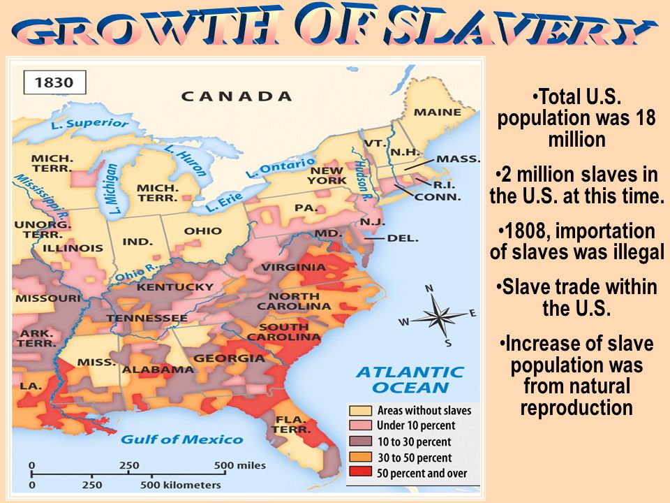 Total U.S. population was 3.5 million… 700,000 slaves in the U.S.