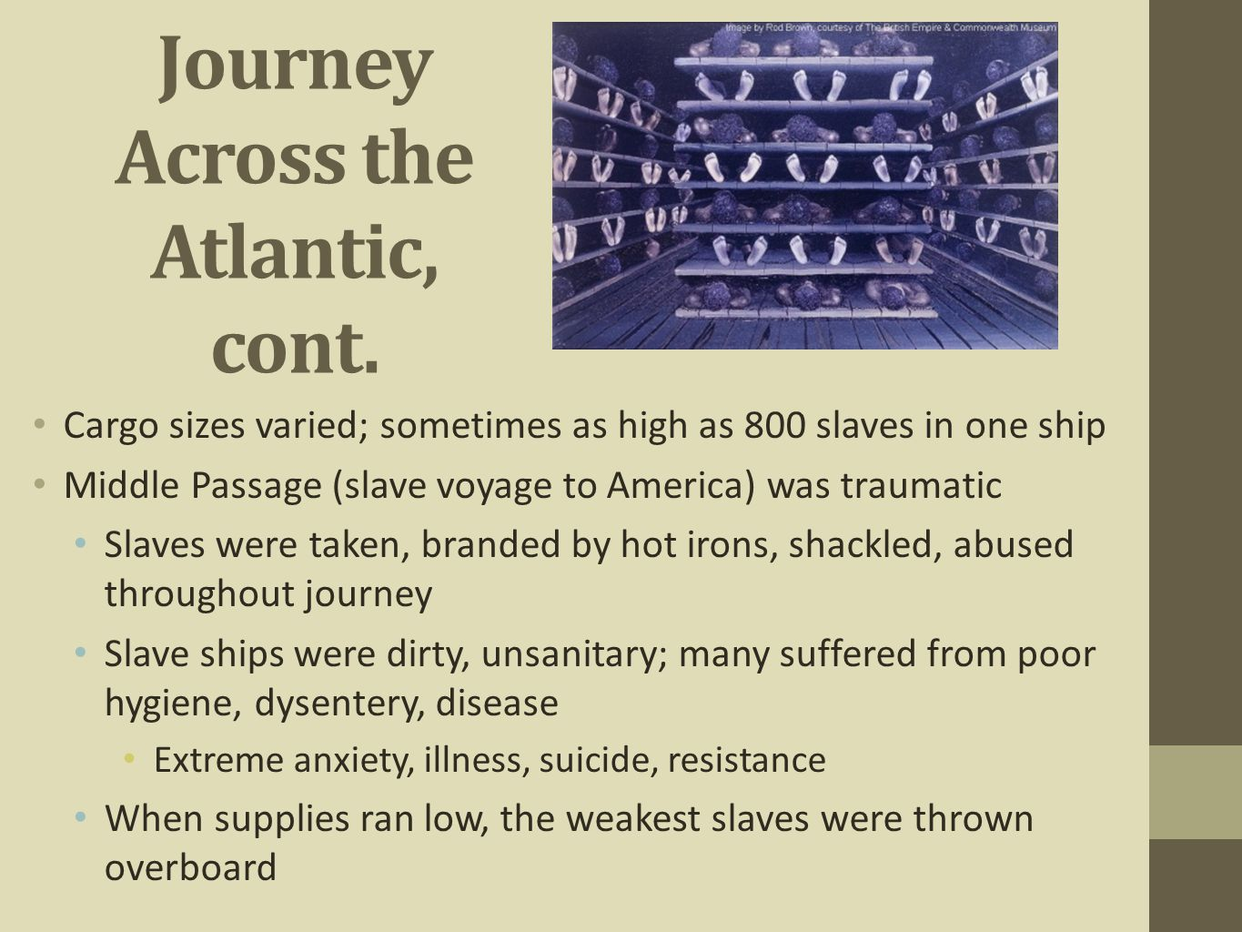 Journey Across the Atlantic, cont. Cargo sizes varied; sometimes as high as 800 slaves in one ship Middle Passage (slave voyage to America) was trauma