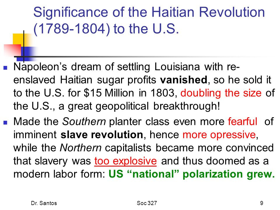 Dr. SantosSoc 3279 Significance of the Haitian Revolution (1789-1804) to the U.S. Napoleon's dream of settling Louisiana with re- enslaved Haitian sug