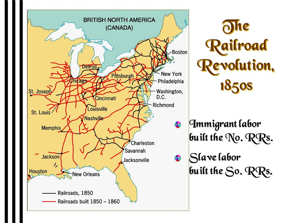 The Railroad Revolution, 1850s Immigrant labor built the No. RRs. Slave labor built the So. RRs.