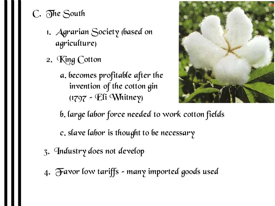 C. The South 1. Agrarian Society (based on agriculture) 2.