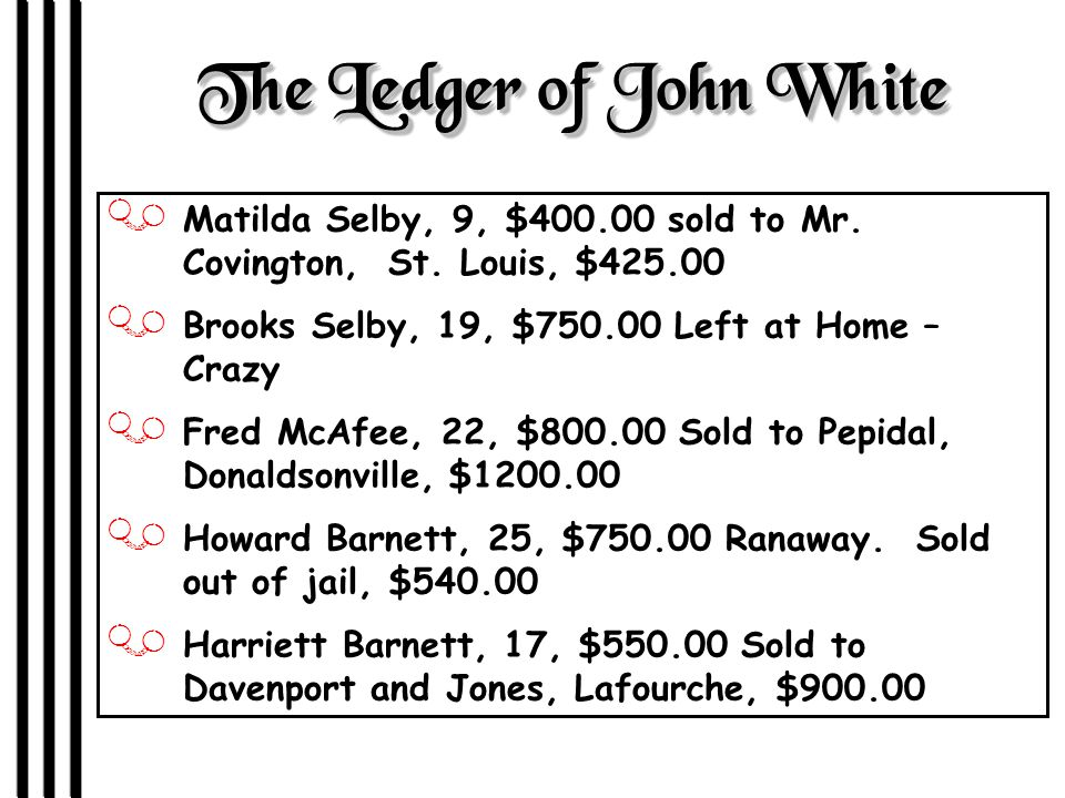 The Ledger of John White J Matilda Selby, 9, $400.00 sold to Mr.