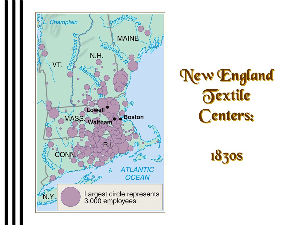 New England Textile Centers: 1830s