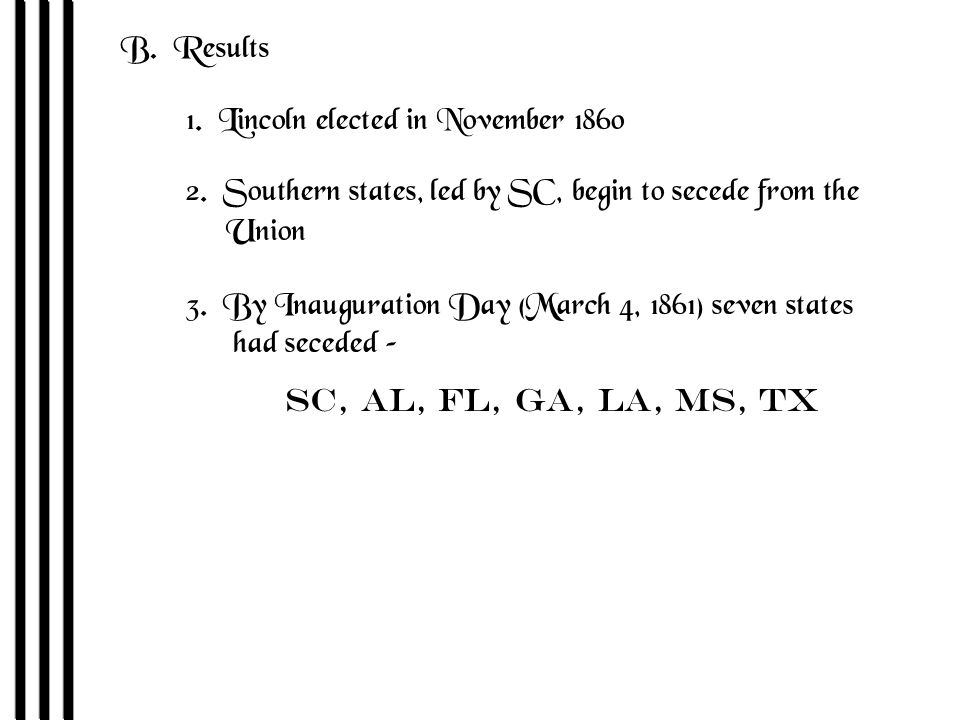 B. Results 1. Lincoln elected in November 1860 2.