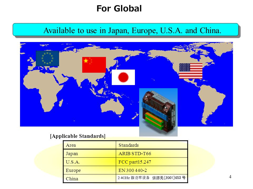 4 For Global Available to use in Japan, Europe, U.S.A.