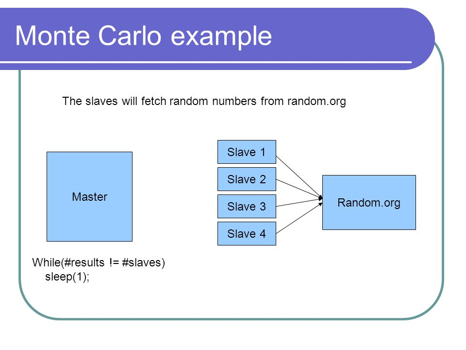 Monte Carlo example Master Slave 1 Slave 2 Slave 3 Slave 4 Random.org The slaves will fetch random numbers from random.org While(#results != #slaves) sleep(1);