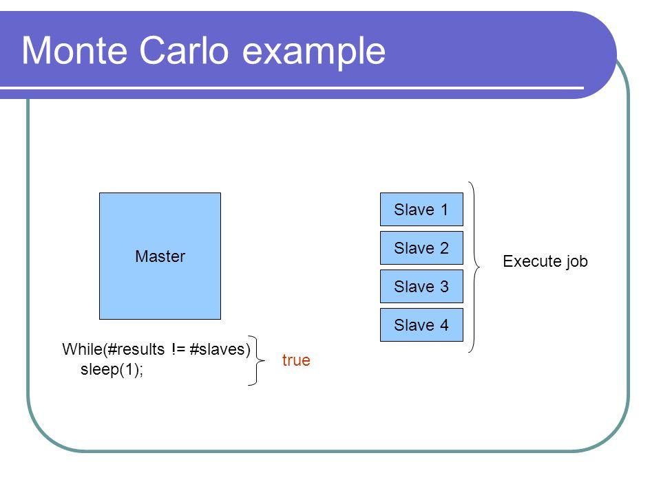 Monte Carlo example Master Slave 1 Slave 2 Slave 3 Slave 4 While(#results != #slaves) sleep(1); Execute job true