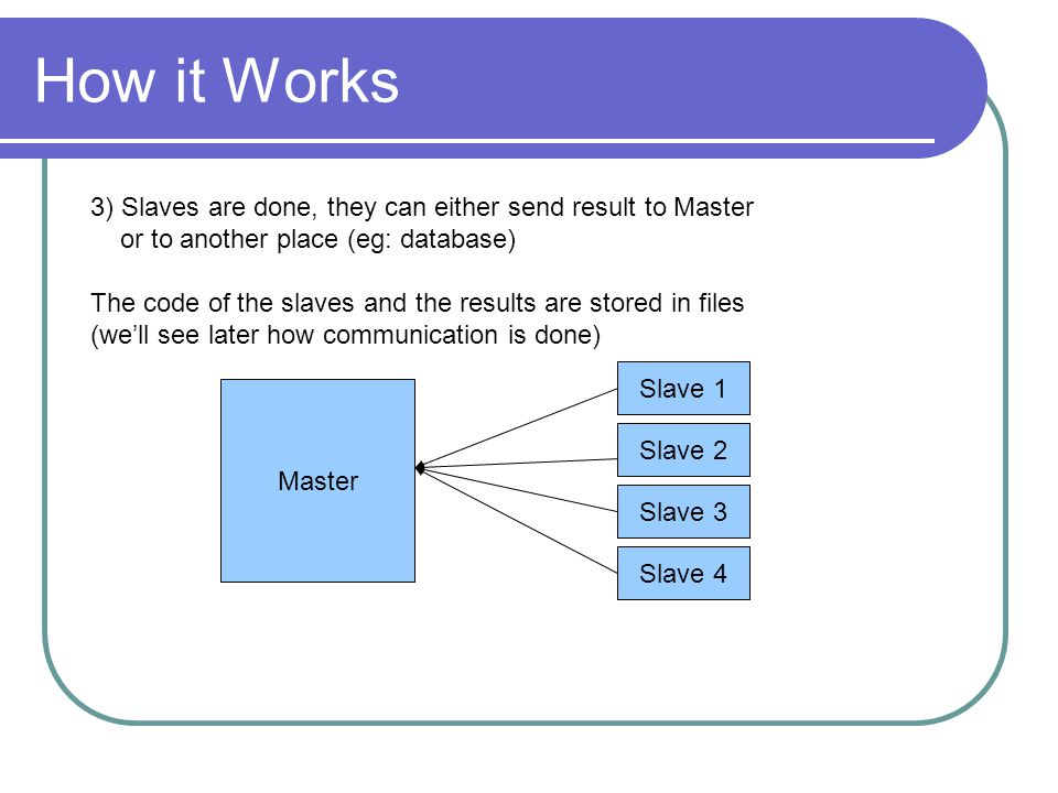 How it Works Master Slave 1 Slave 2 Slave 3 Slave 4 3) Slaves are done, they can either send result to Master or to another place (eg: database) The code of the slaves and the results are stored in files (we'll see later how communication is done)