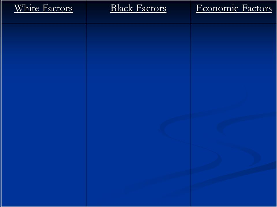White Factors Black Factors Economic Factors