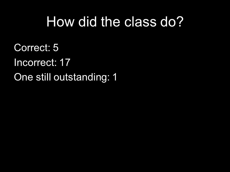 How did the class do Correct: 5 Incorrect: 17 One still outstanding: 1