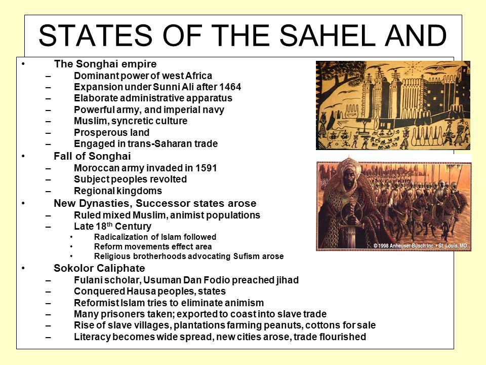 STATES OF THE SAHEL AND SUDAN The Songhai empire –Dominant power of west Africa –Expansion under Sunni Ali after 1464 –Elaborate administrative appara