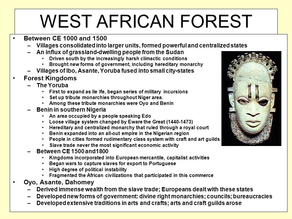 WEST AFRICAN FOREST KINGDOMS Between CE 1000 and 1500 –Villages consolidated into larger units, formed powerful and centralized states –An influx of g