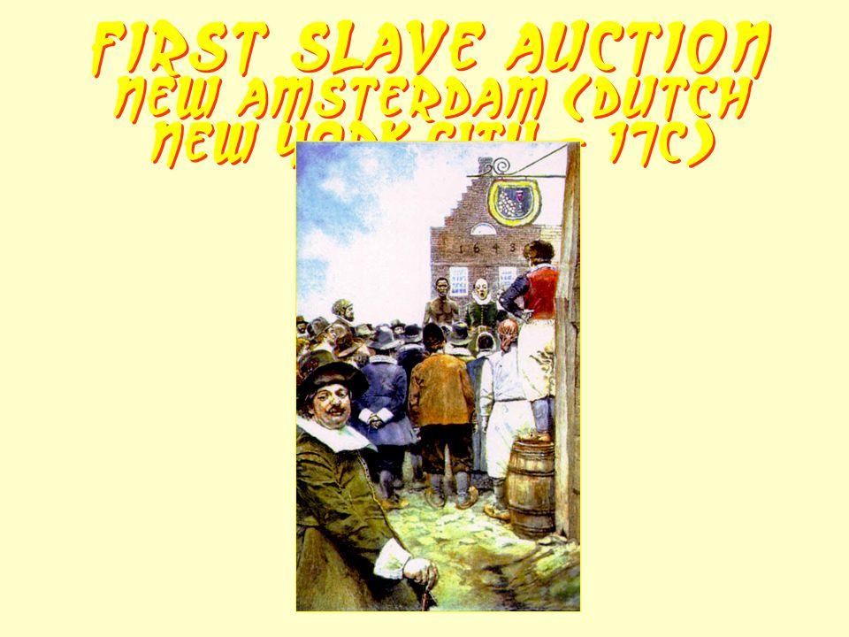 First Slave Auction New Amsterdam (Dutch New York City - 17c)