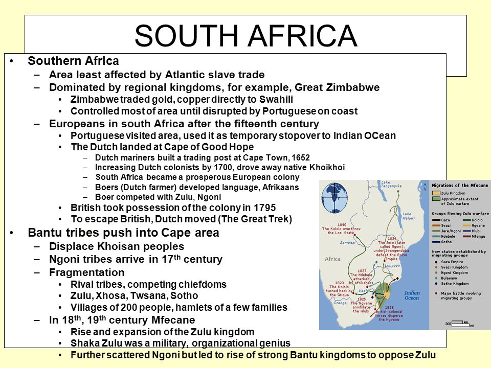 SOUTH AFRICA Southern Africa –Area least affected by Atlantic slave trade –Dominated by regional kingdoms, for example, Great Zimbabwe Zimbabwe traded