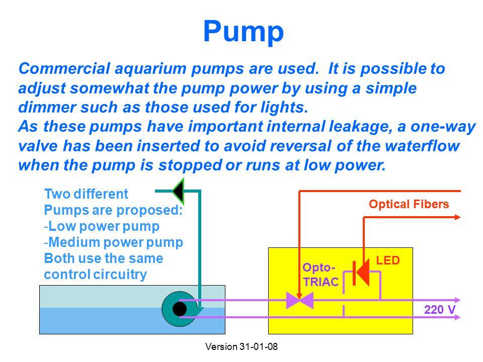 Version 31-01-08 Pump Commercial aquarium pumps are used.