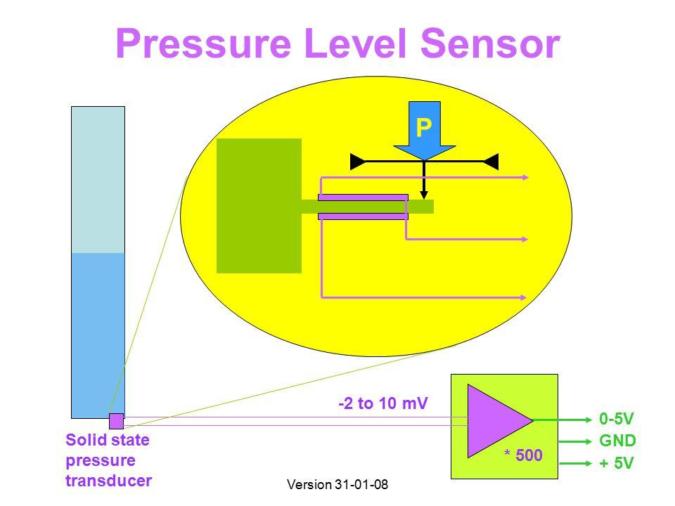 Version 31-01-08 Pressure Level Sensor Solid state pressure transducer 0-5V GND + 5V * 500 P -2 to 10 mV