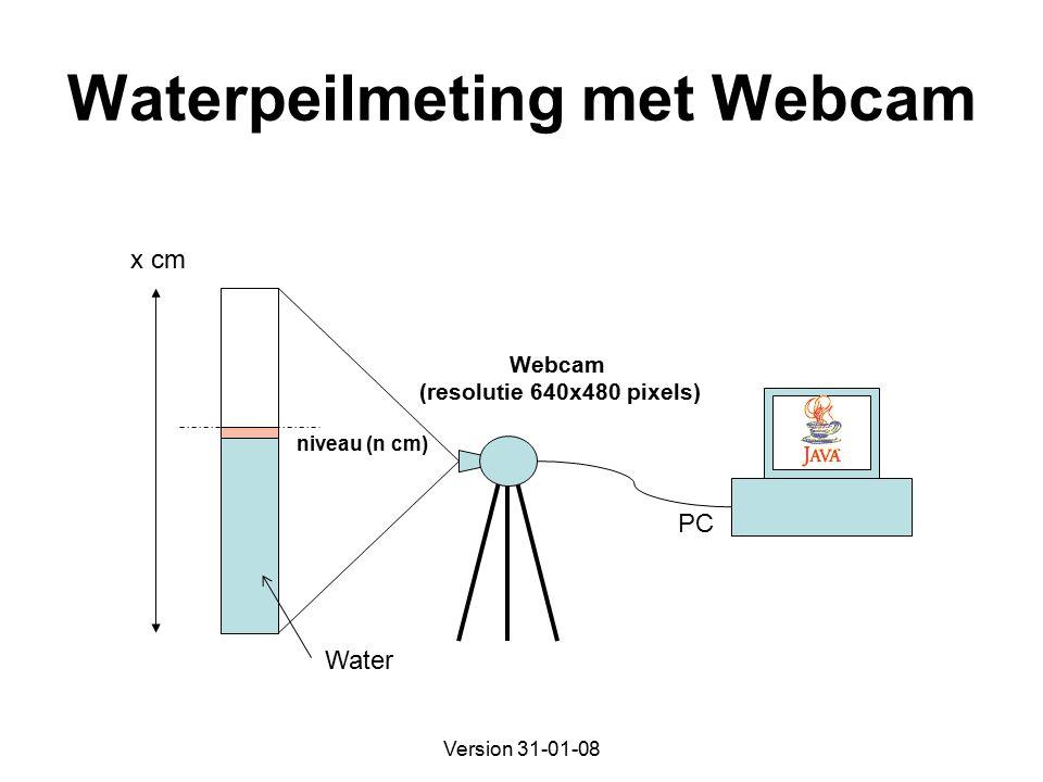Version 31-01-08 Waterpeilmeting met Webcam Water PC Webcam (resolutie 640x480 pixels) x cm niveau (n cm)