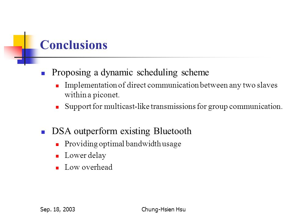 Sep. 18, 2003Chung-Hsien Hsu Conclusions Proposing a dynamic scheduling scheme Implementation of direct communication between any two slaves within a