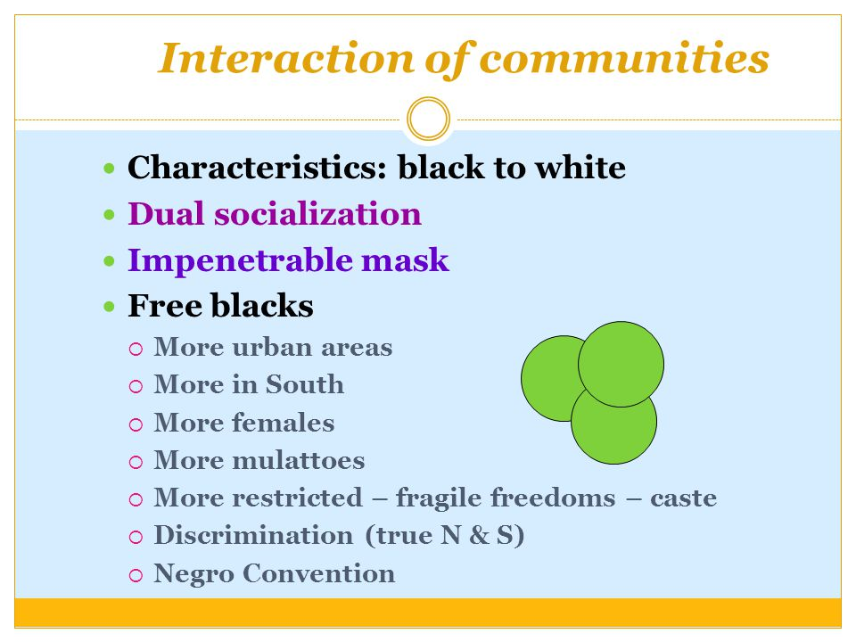 Interaction of communities Characteristics: black to white Dual socialization Impenetrable mask Free blacks  More urban areas  More in South  More females  More mulattoes  More restricted – fragile freedoms – caste  Discrimination (true N & S)  Negro Convention