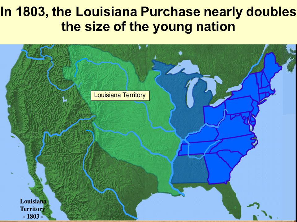 In 1803, the Louisiana Purchase nearly doubles the size of the young nation