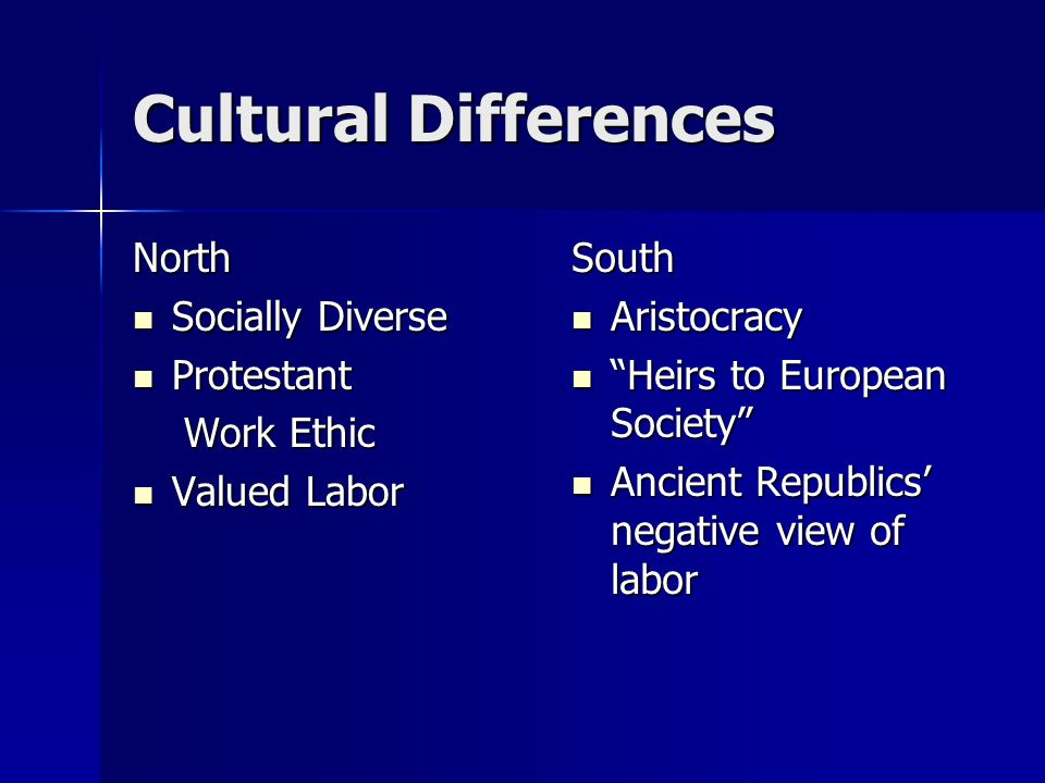 Cultural Differences North Socially Diverse Socially Diverse Protestant Protestant Work Ethic Work Ethic Valued Labor Valued LaborSouth Aristocracy Aristocracy Heirs to European Society Heirs to European Society Ancient Republics' negative view of labor Ancient Republics' negative view of labor