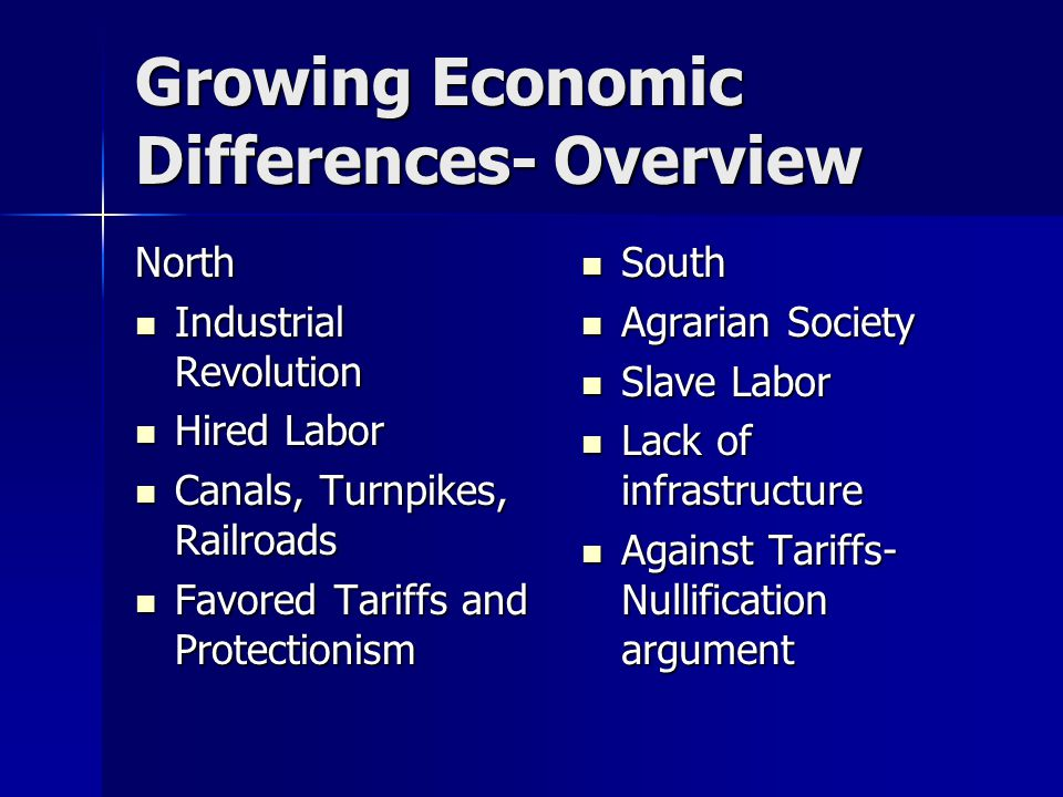 Growing Economic Differences- Overview North Industrial Revolution Industrial Revolution Hired Labor Hired Labor Canals, Turnpikes, Railroads Canals, Turnpikes, Railroads Favored Tariffs and Protectionism Favored Tariffs and Protectionism South South Agrarian Society Agrarian Society Slave Labor Slave Labor Lack of infrastructure Lack of infrastructure Against Tariffs- Nullification argument Against Tariffs- Nullification argument