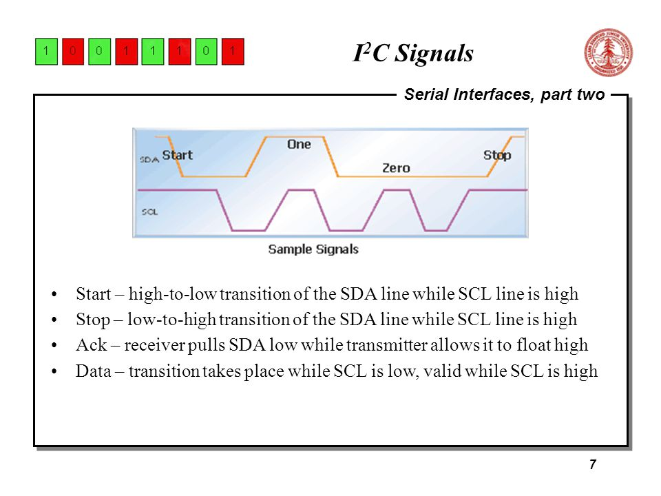 7 Serial Interfaces, part two I 2 C Signals Start – high-to-low transition of the SDA line while SCL line is high Stop – low-to-high transition of the SDA line while SCL line is high Ack – receiver pulls SDA low while transmitter allows it to float high Data – transition takes place while SCL is low, valid while SCL is high