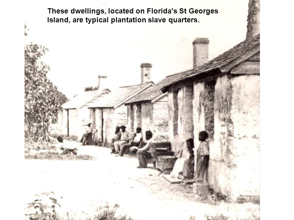 These dwellings, located on Florida's St Georges Island, are typical plantation slave quarters.