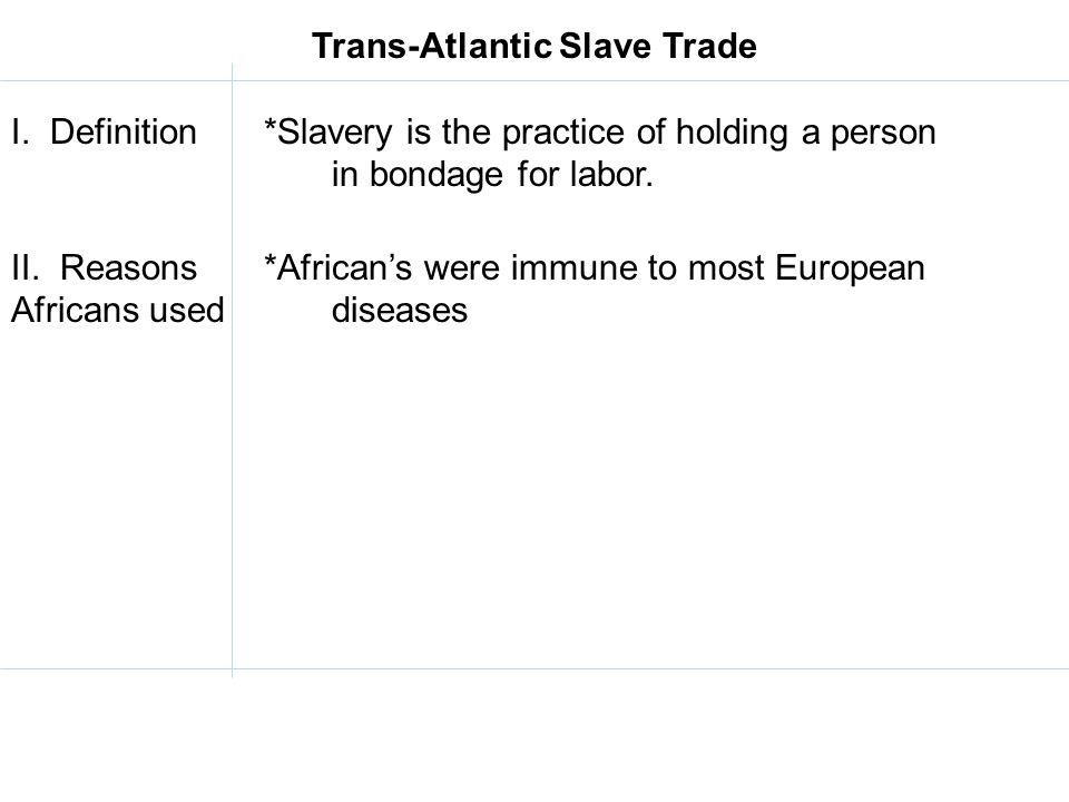 Trans-Atlantic Slave Trade I.