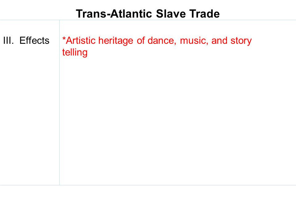 Trans-Atlantic Slave Trade III. Effects*Artistic heritage of dance, music, and story telling