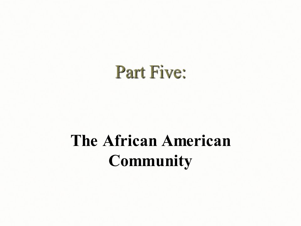Part Five: The African American Community