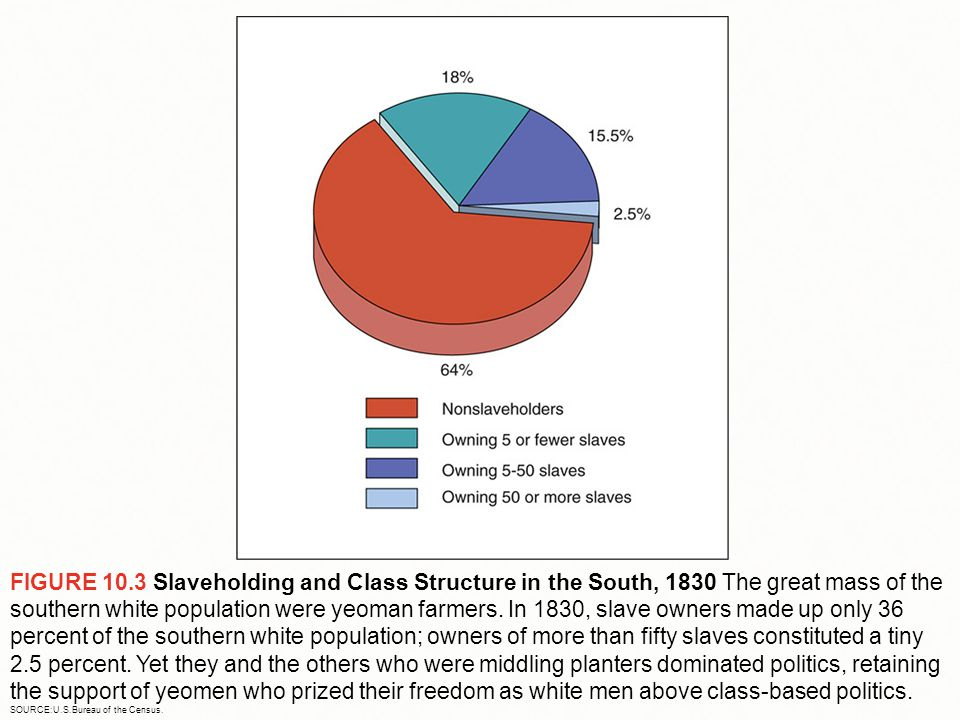 FIGURE 10.3 Slaveholding and Class Structure in the South, 1830 The great mass of the southern white population were yeoman farmers. In 1830, slave ow