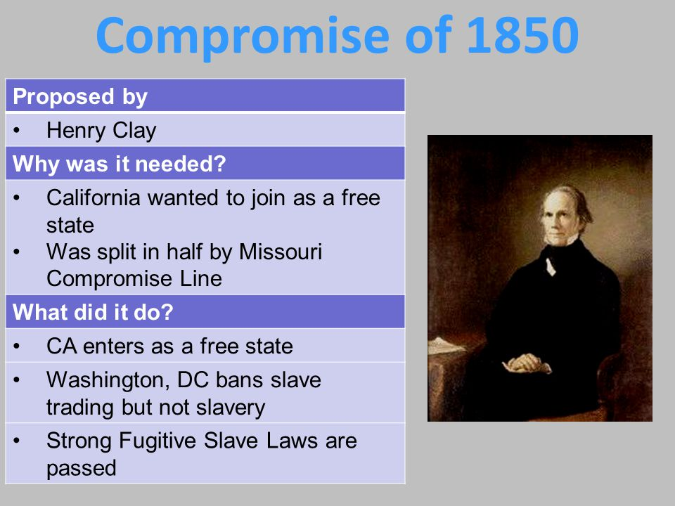 California California wanted to join Union as free state – BUT – was split in half by Missouri Compromise Line (oops!!!!) So…***Henry Clay – you're up!!.