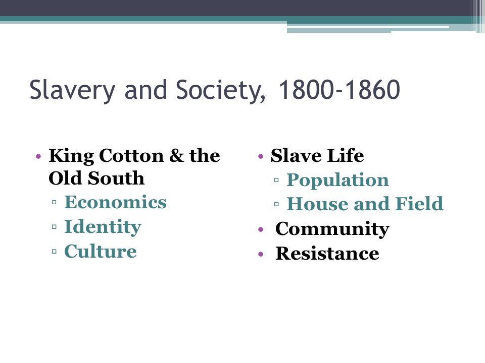 King Cotton & the Old South ▫Economics ▫Identity ▫Culture Slave Life ▫Population ▫House and Field Community Resistance