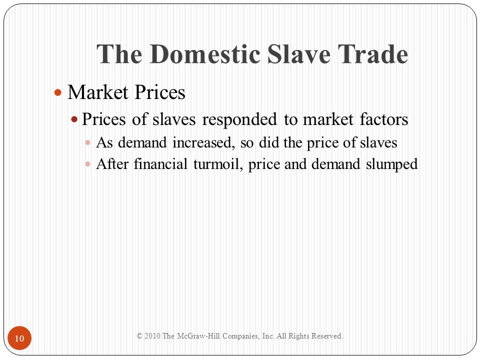 The Domestic Slave Trade Market Prices Prices of slaves responded to market factors As demand increased, so did the price of slaves After financial tu