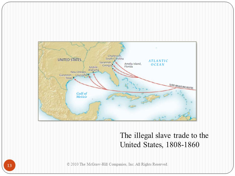 © 2010 The McGraw-Hill Companies, Inc. All Rights Reserved. 13 The illegal slave trade to the United States, 1808-1860 Insert Map: The illegal slave t