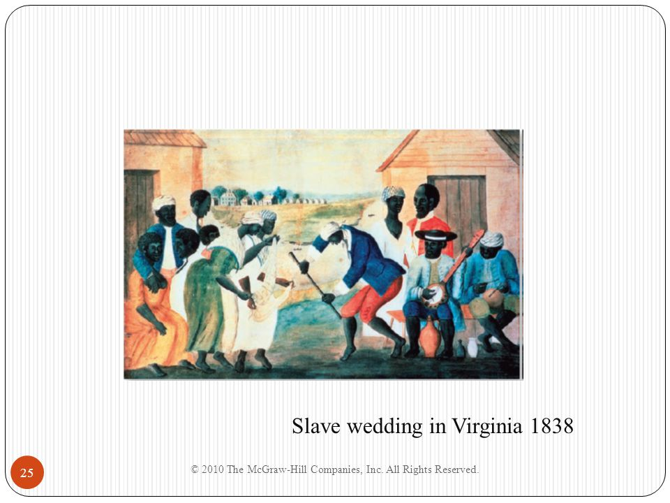 © 2010 The McGraw-Hill Companies, Inc. All Rights Reserved. 25 Slave wedding in Virginia 1838