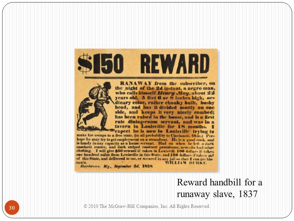 © 2010 The McGraw-Hill Companies, Inc. All Rights Reserved. 30 Reward handbill for a runaway slave, 1837