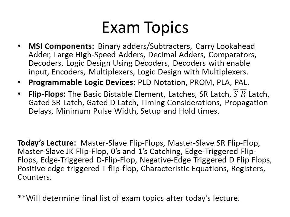 Exam Topics