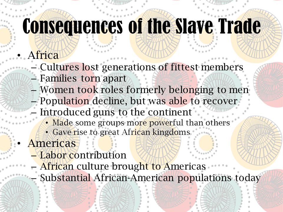 Discussion Points Role of Africans in the slave trade vs.