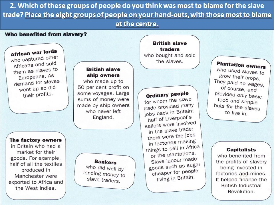 What words would you use to describe the task faced by Clarkson 1. Look at these groups of people who benefited from the slave trade. What words would
