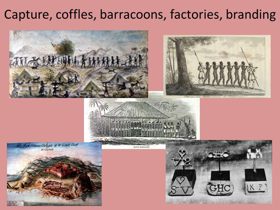 Capture, coffles, barracoons, factories, branding