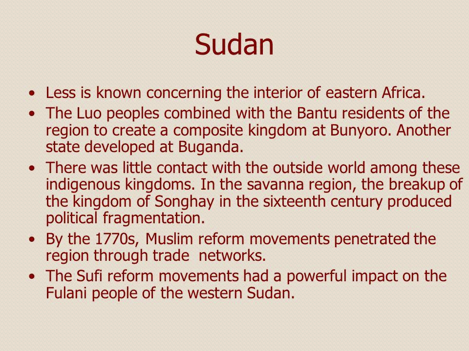 Nigeria (Hausa) By 1804, Usuman Dan Fodio brought the Sufi reform to the Hausa kingdoms of Nigeria.