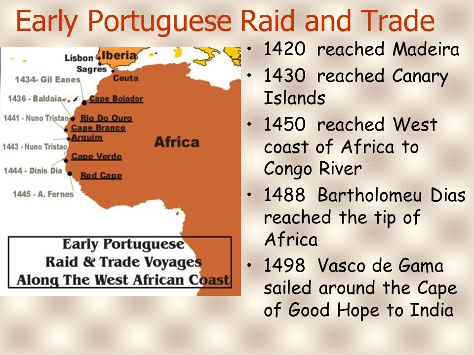 Early Portuguese Raid and Trade 1420 reached Madeira 1430 reached Canary Islands 1450 reached West coast of Africa to Congo River 1488 Bartholomeu Dia