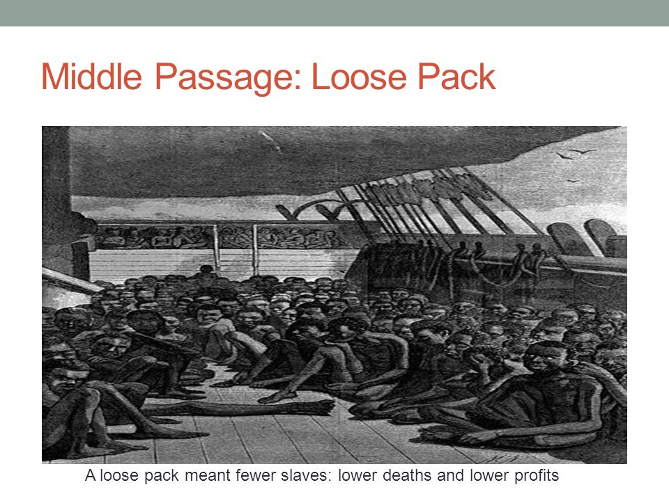 Middle Passage: Loose Pack A loose pack meant fewer slaves: lower deaths and lower profits