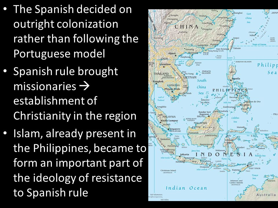 The Spanish decided on outright colonization rather than following the Portuguese model Spanish rule brought missionaries  establishment of Christian