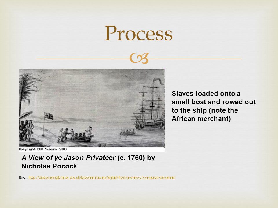  Process A View of ye Jason Privateer (c. 1760) by Nicholas Pocock. Ibid., http://discoveringbristol.org.uk/browse/slavery/detail-from-a-view-of-ye-j